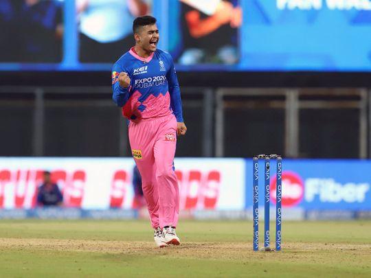 Riyan Parag of Rajasthan Royals celebrates the wicket of Chris Gayle of Punjab Kings