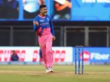 Riyan Parag of Rajasthan Royals celebrates the wicket of Chris Gayle of Punjab Kings