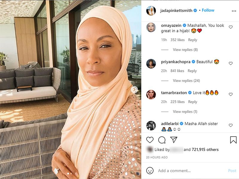 Celebrities respond to Jada Pinkett Smith's images wearing hijab on Instagram.