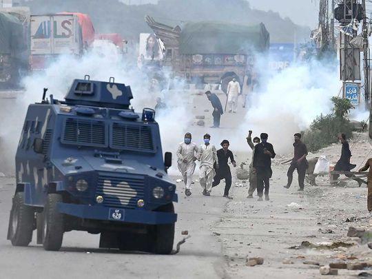 Pakistan TLP stones protest