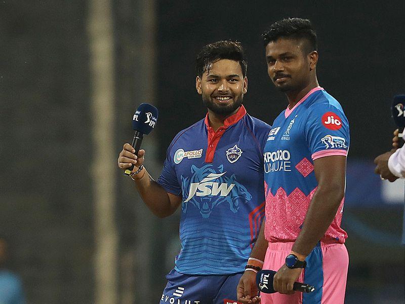 Captain of Rajasthan Royals Sanju Samson  (right) with elhi Capitals skipper Rishabh Pant during the toss at the Wankhede Stadium Mumbai.
