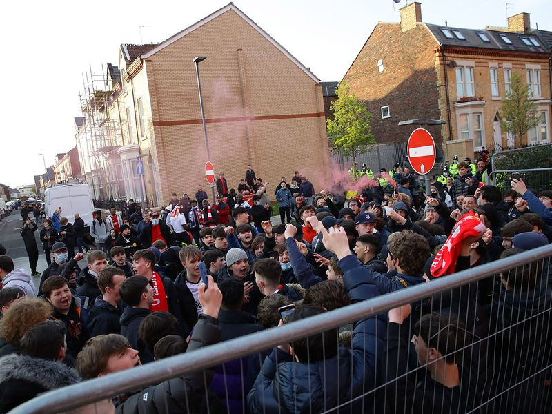 Liverpool fans are seen outside the stadium before the Champions League quarterfinal against Real Madrid.