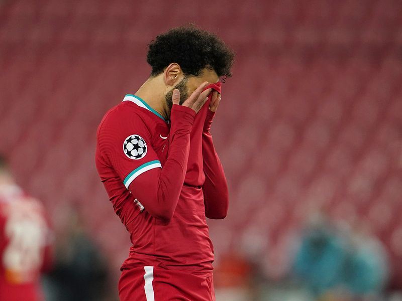 Liverpool's Mohamed Salah reacts after a missed scoring opportunity during a Champions League quarter final second leg against Real Madrid.