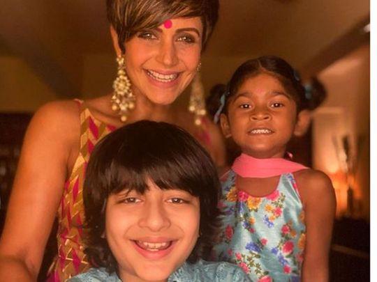 Mandira Bedi and children