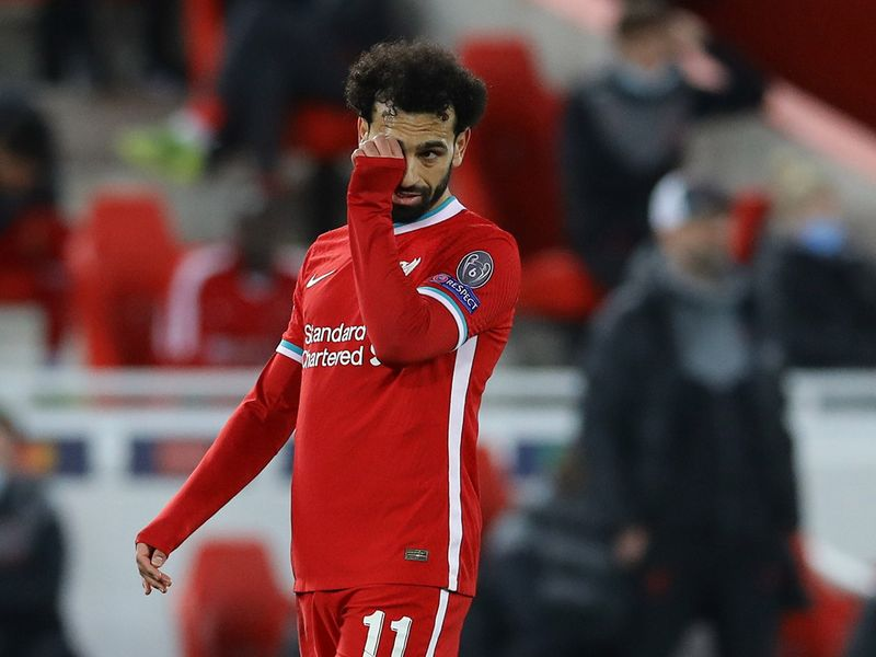 Soccer Football - Champions League - Quarter Final Second Leg - Liverpool v Real Madrid - Anfield, Liverpool, Britain - April 14, 2021 Liverpool's Mohamed Salah reacts REUTERS/David Klein