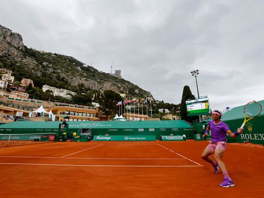 Spain's Rafael Nadal in action at the Monte Carlo Masters without fans