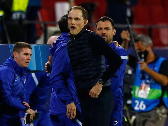 Chelsea manager Thomas Tuchel celebrates defeating Porto in the Champions LeagueREUTERS/Marcelo Del Pozo