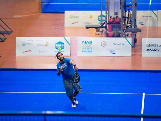 Khalid Al Kamali in action at the NAS Padel Championship during the Nad Al Sheba Sports Tournament