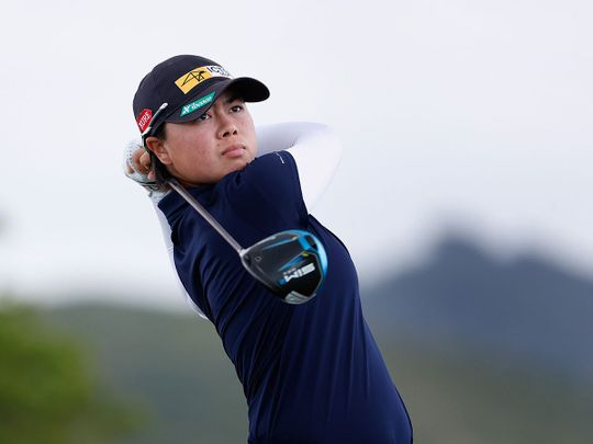 Yuka Saso of the Philippines plays a shot during the second round of the LPGA LOTTE Championship at Kapolei Golf Club, Hawaii
