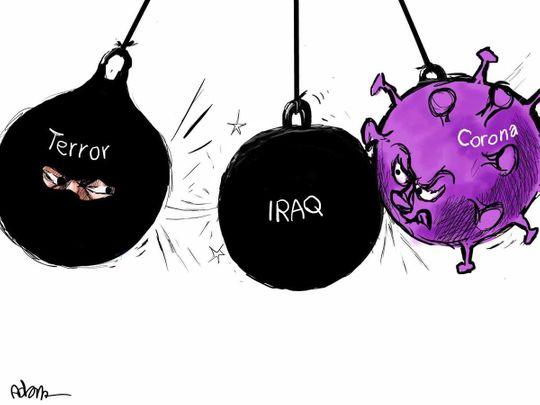 Cartoon Iraq covid war