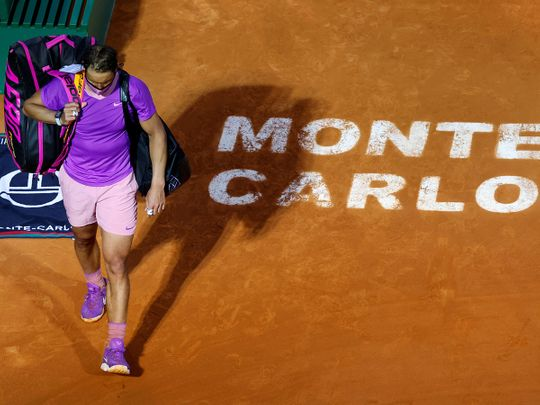 Spain's Rafael Nadal looks dejected after losing his quarter-final match against Russia's Andrey Rublev in Monte Carlo