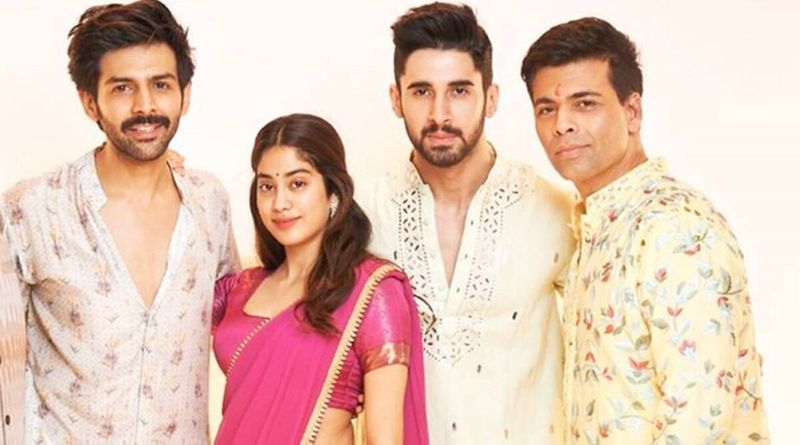 Kartik Aaryan, Janhvi Kapoor, Lakshya and Karan Johar