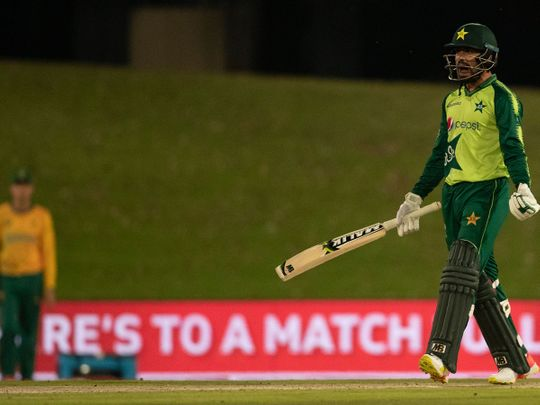 Pakistan's batsman Muhammad Nawaz reacts after scoring winning runs at the end of the fourth and final T20 cricket match against South Africa