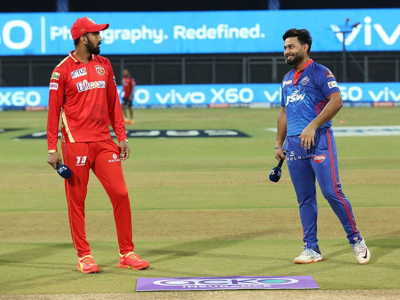 Punjab Kings  skipper KL Rahul (left)  with Delhi Capitals captain Rishabh Pant during the toss.