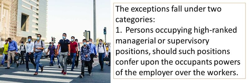 The exceptions fall under two categories: 1.Persons occupying high-ranked managerial or supervisory positions, should such positions confer upon the occupants powers of the employer over the workers.