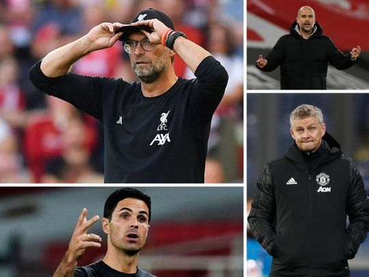 Premier League managers Jurgen Klopp, Pep Guardiola, Ole Gunnar Solksjaer and Mikel Arteta