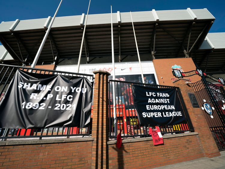 Banners are seen outside Liverpool's Anfield Stadium protesting the formation of the European Super League.