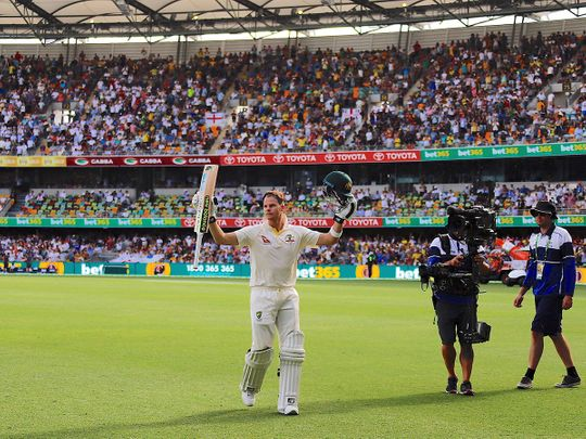 GABBA Ground, Brisbane, Australia, November 25, 2017. Australia's captain Steve Smith reacts as he walks off the ground at the end of Australia's first innings during the third day of the first Ashes cricket test match.