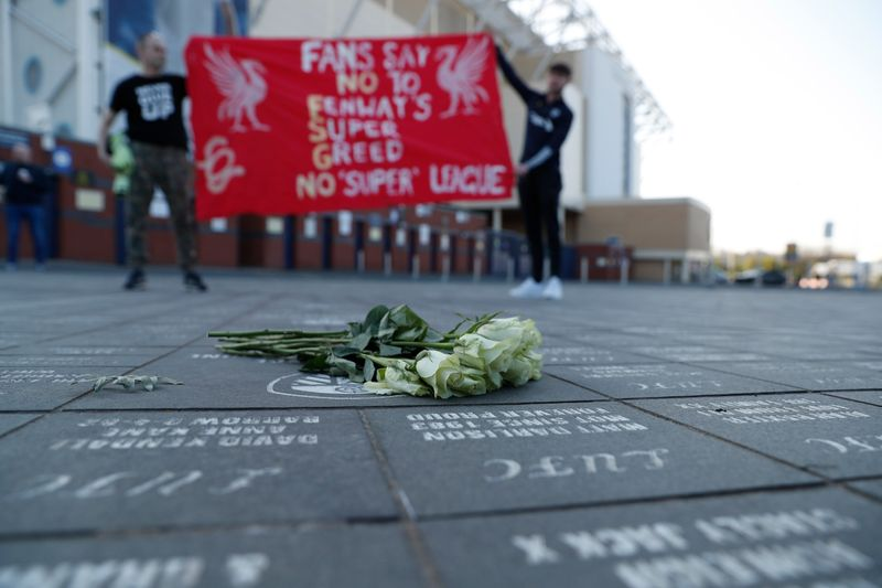 Liverpool fans protest the planned European Super League outside the stadium before the match. It was announced twelve of Europe's top football clubs will launch a breakaway Super League.