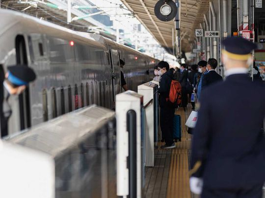 Osaka train station bullet train