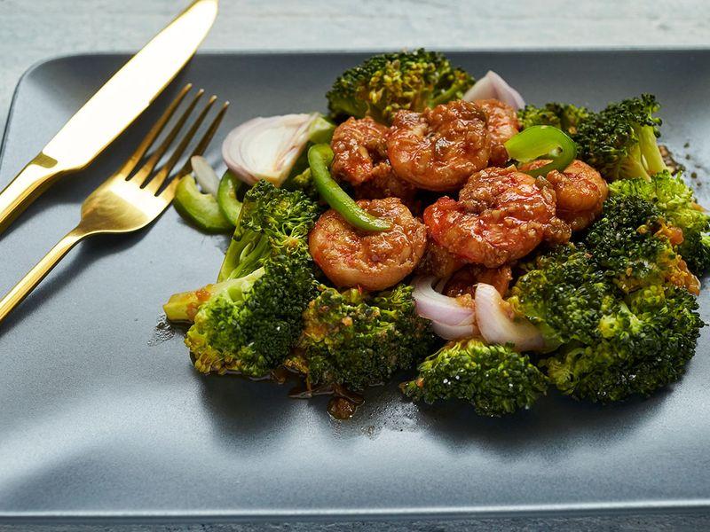 shrimp, broccoli