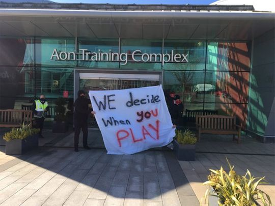 Manchester United fans block entrances to the club's training ground's in ongoing protests after the European Super League fiasco.