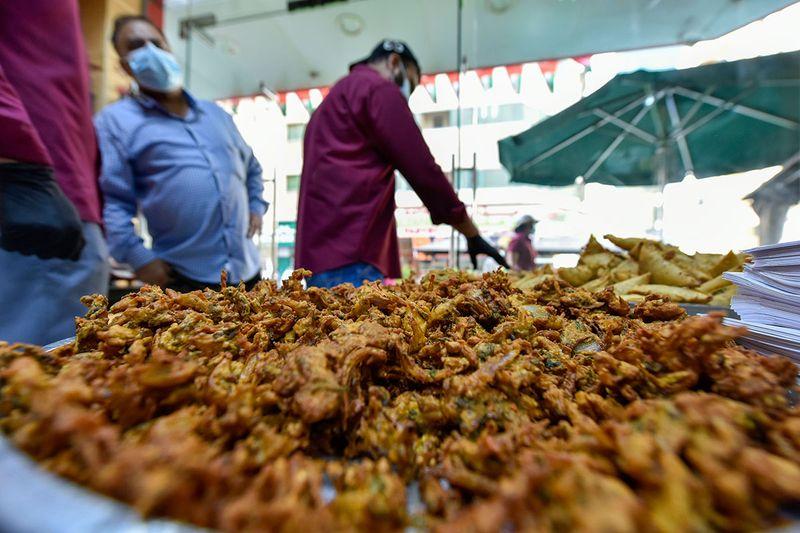 Snacks diaplayed at Pakistan Sweets shop in Sharjah during Ramadan.