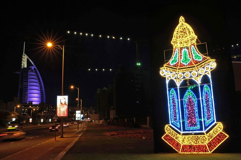 This picture taken on April 20, 2021 shows a traditional lantern known in Arabic as