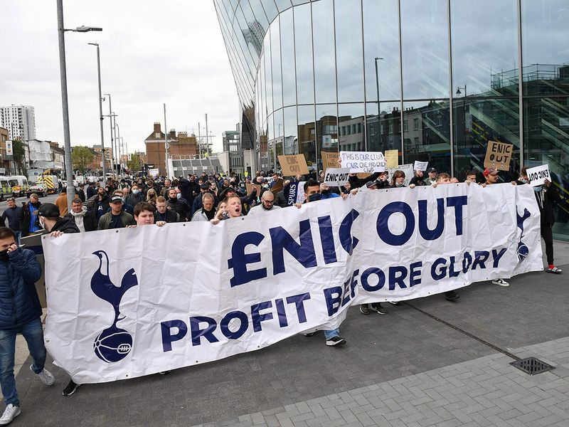 Tottenham Hotspur take to the streets to protest club ownership.