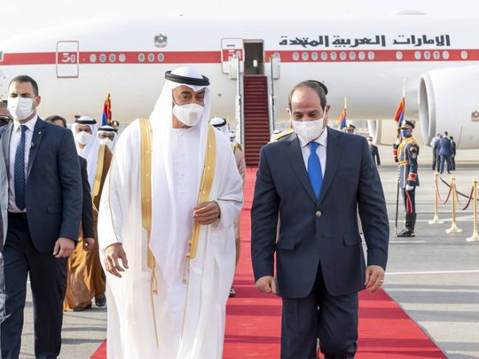 Sheikh Mohamed Bin Zayed on official visit to Egypt is being received by Egyptian President Abdul Fattah Al Sisi in Cairo.