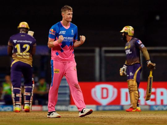 Chris Morris of Rajasthan Royals celebrates the wicket of Andre Russell of Kolkata Knight Riders