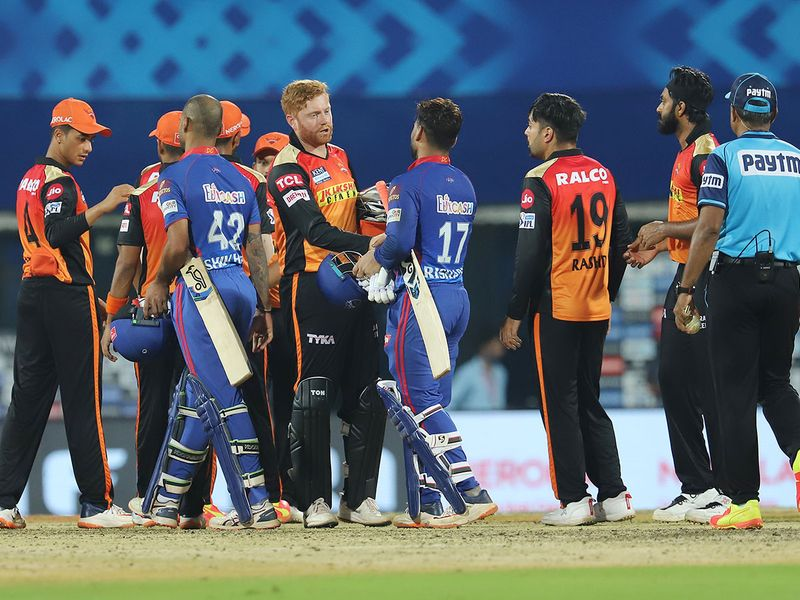 Delhi Capitals and Sunrisers Hyderabad players