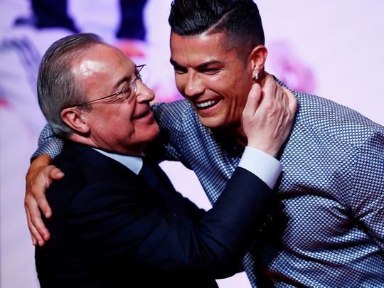 Real Madrid president Florentino Perez and Cristiano Ronaldo.