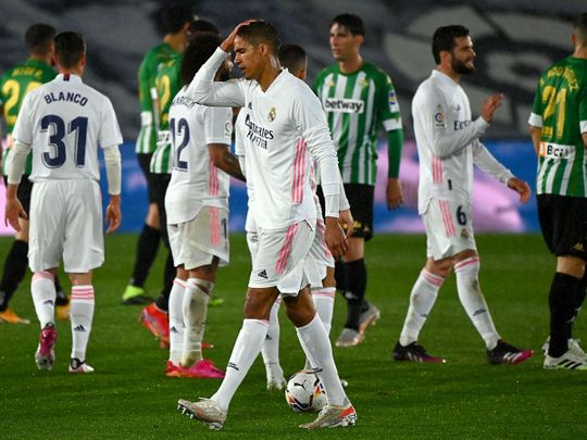 Real Madrid's French defender Raphael Varane is downcast after the draw with Real Betis
