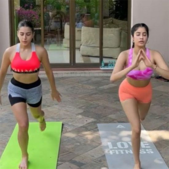 Screen grab of the video instagrammed by Sara Ali Khan: Janhvi Kapoor and Sara Ali Khan bond on their workout session in Maldives.