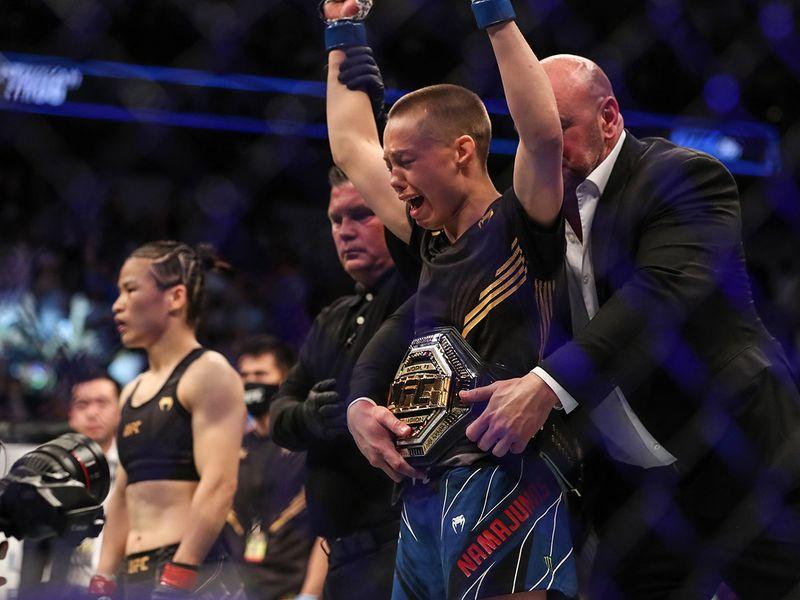 UFC 261: Rose Namajunas reacts after defeating Zhang Weili.