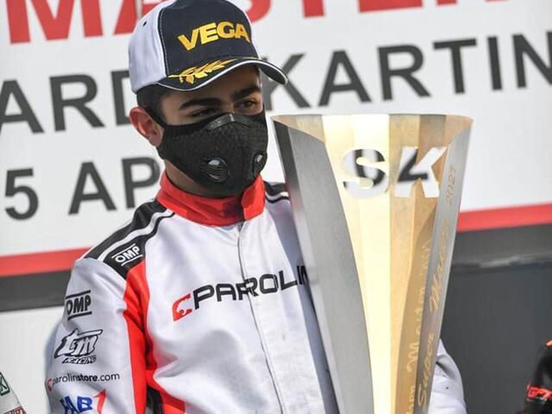 Rashid Al Dhaheri celebrates on the podium