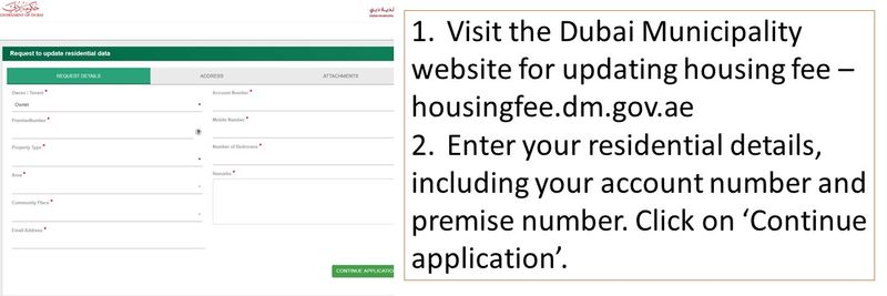 1.Visit the Dubai Municipality website for updating housing fee – housingfee.dm.gov.ae 2.Enter your residential details, including your account number and premise number. Click on 'Continue application'.