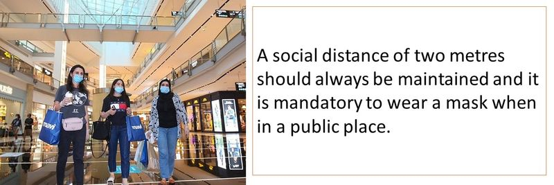 A social distance of two metres should always be maintained and it is mandatory to wear a mask when in a public place.