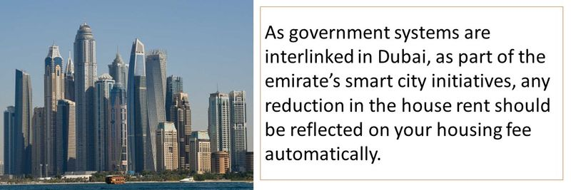 As government systems are interlinked in Dubai, as part of the emirate's smart city initiatives, any reduction in the house rent should be reflected on your housing fee automatically.