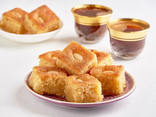 Almond basbousa with vanilla and rose syrup for Eid