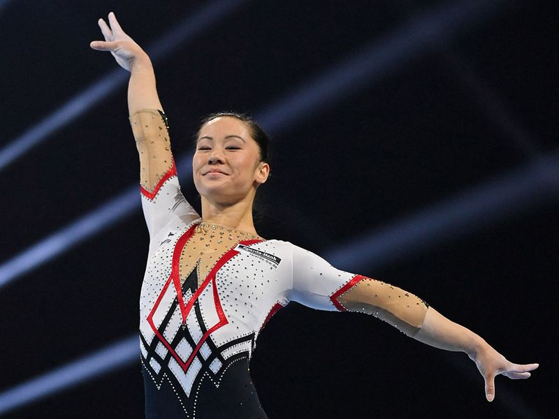 Germany's Kim Bui competes in the floor competition during the Women's overall final of the 2021 European Artistic Gymnastics Championships at the St Jakobshalle, in Basel, on April 23, 2021.