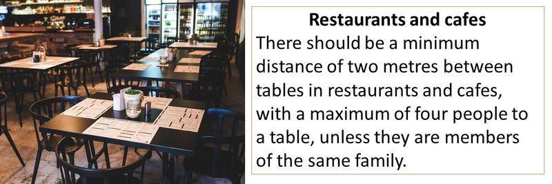Restaurants and cafes There should be a minimum distance of two metres between tables in restaurants and cafes, with a maximum of four people to a table, unless they are members of the same family.