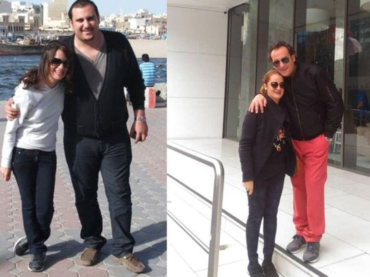 Sina with his wife Sahar before (left) and after