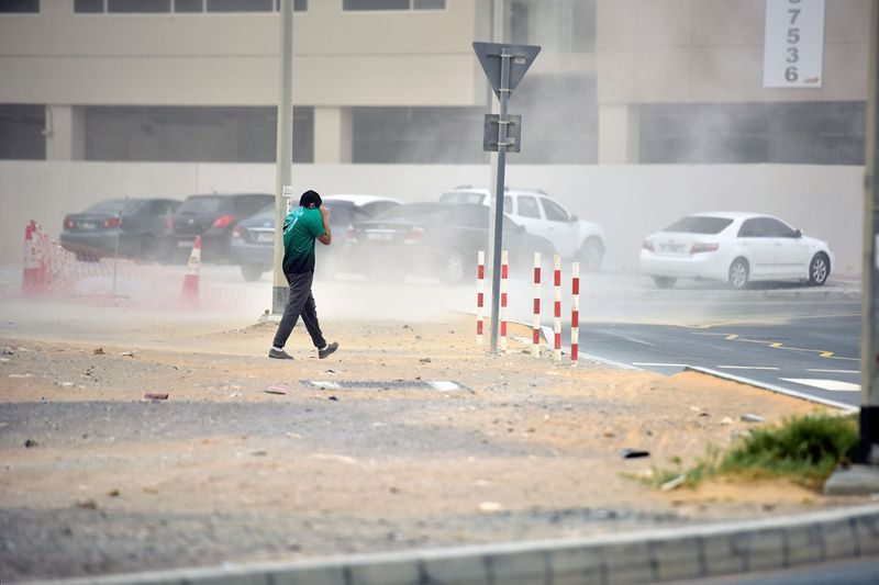 A sudden sandstorm in Dubai hinders the visibly of motorists and pedestrians in the city during the evening hours of the day on 28th April, 2021.