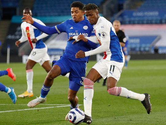 Leicester's Wesley Fofana, left, during the match against Crystal Palace