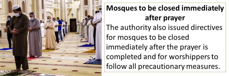 Mosques to be closed immediately after prayer The authority also issued directives for mosques to be closed immediately after the prayer is completed and for worshippers to follow all precautionary measures.