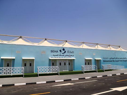NAT 210422 Mohammed Bin Zayed Field Hospital Sharjah CE023-1619618036283