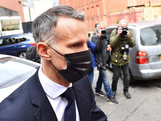 Wales' Manager and Former Manchester United footballer Ryan Giggs  leaves from Manchester Magistrates' Court in Manchester