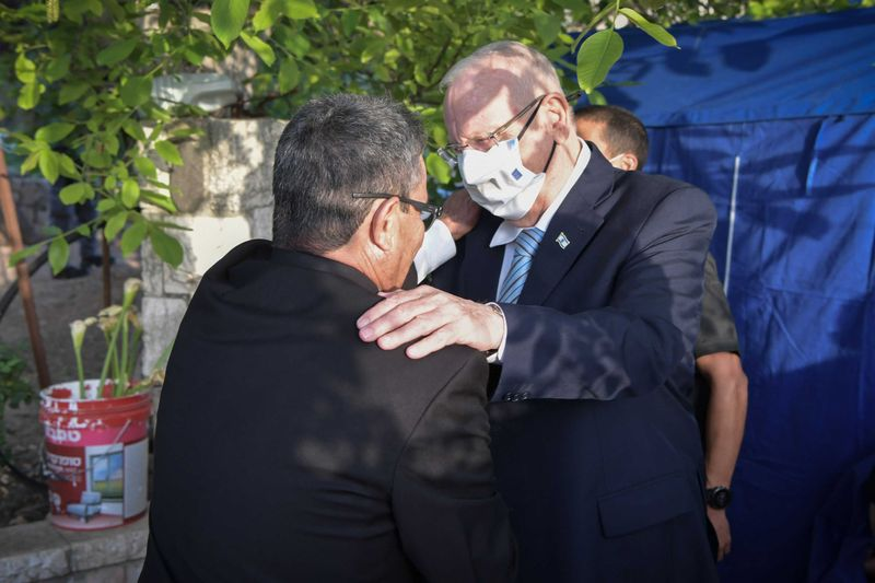 Israeli President Reuven Rivlin and Abu Ghosh Mayor Salim Jaber